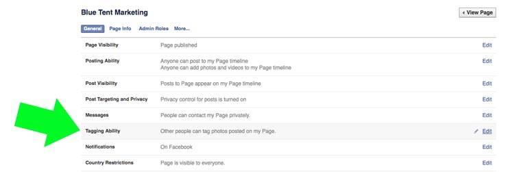Screenshot of Facebook Settings Menu