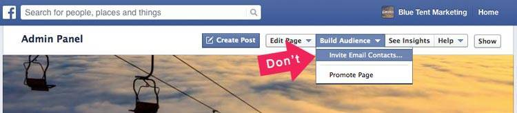 "Screenshot of Facebook's Invite Email list function and arrow saying ""Don't"""