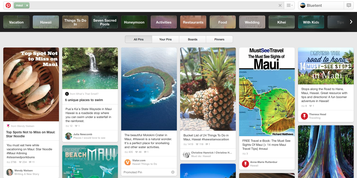 Pinterest Search for Maui